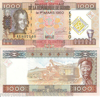GUINEA 1000 Francs Banknote World UNC Currency Money BILL p43 Note Africa 2010