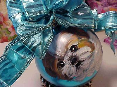 Shih Tzu Puppy Handpainted Christmas Ornament Super!