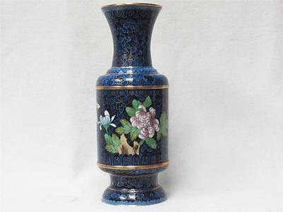 Beautiful Vintage Chinese Large Blue Cloisonne Vase W/ A Floral Motif