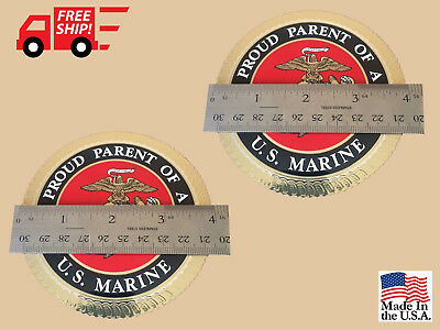 Marines Proud Parent Sticker Set of 2 USMC Marines Crome Decal