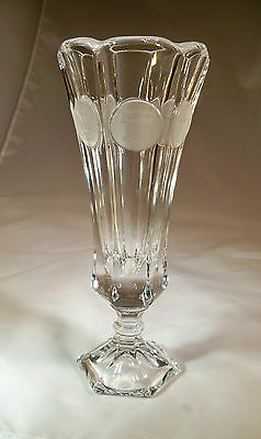 """FOSTORIA COIN CRYSTAL #1372/799 8"""" TALL FOOTED FLOWER or BUD VASE-MINT PERFECT!"""