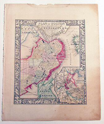 """Mitchell's Antique Map ~ """"Plan of Boston"""" 1860  detailed"""