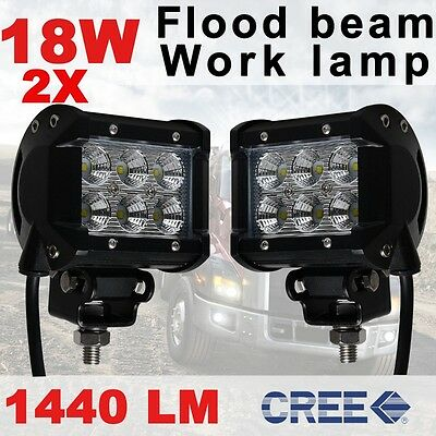 "2x 4"" 18W CREE LED Work Light Bar Flood Driving Lamp Off Road 4WD Boat Jeep ATV"