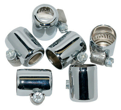 Namz Colored Hose Clamps for 1/4 In and 5/16 In Fuel Line 6 Pk Chrome For Harley