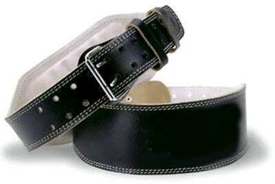 """4"""" Black Leather Weight Lifting Belt Gym Training Back Support Power Lumber"""