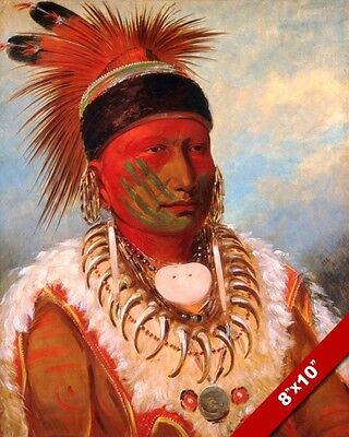 Iowa Chief White Cloud Native American Indian Painting Art Real Canvas Print