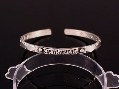 Solid Tibetan Bodhi Weaving Carved OM Mani Diamond Shape Dotted Cuff Bracelet