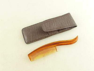 Vintage Amber Colored Plastic Pocket Moustache Comb with Carrying Case Pouch