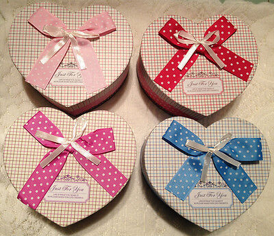 Set of 3 Large Christmas Nesting Gift Boxes Heart Bowknot Wedding Favor Box New