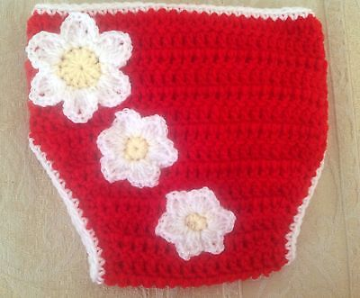 BABY GIRLS CROCHET NAPPY COVER  with flowers - Photo prop - made in Perth