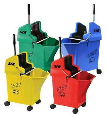 "SYR Ladybug 15 Litre Kentucky Mop Bucket and Wringer with 2"" Castors"