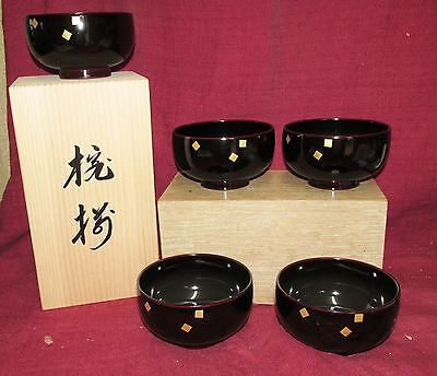 Japanese Antique Style Lacquer Bowls Taisho Period Modern Signed w Original Box