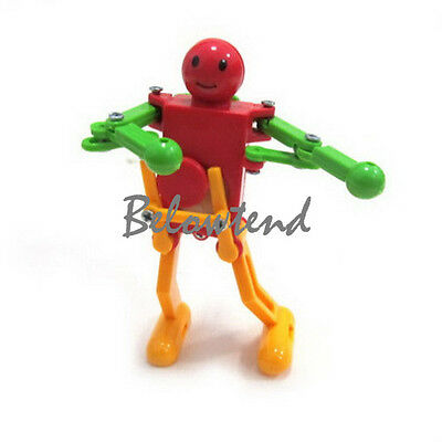 1pc Kids Child Colorful Plastic Clockwork Spring Wind Up Dancing Robot Toy Gift