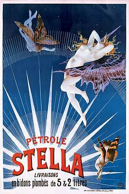 French PETROLE STELLA Advertisment VINTAGE Pinup Print Poster Antique Style ART
