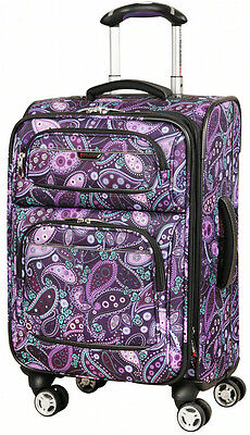"Ricardo Beverly Hills Mar Vista 20"" 4 Wheel Expand Carry On Luggage Purple Pais"