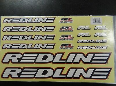 Redline Frame & Fork White Stickers Decal Replacement Set for BMX Bike Bicycle