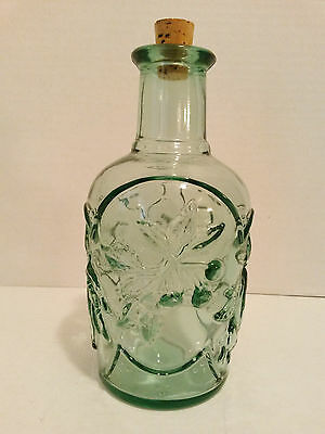Pressed Glass Decanter Carafe Cork Fruit Pattern Green Bottle Apothecary Canada