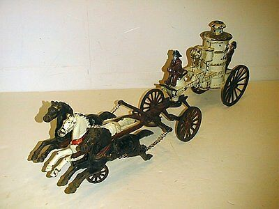 FIRE WAGON ALL CAST IRON 3 HORSE DRAWN GOOD CONDITION