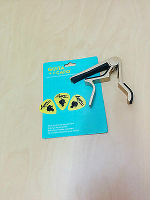 Quick Change Acoustic Guitar Capo, Golden,  with 3 free picks