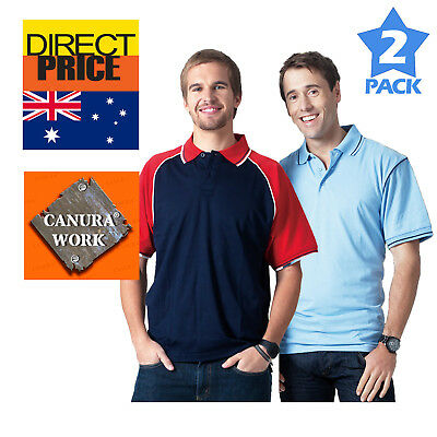 Package of 2 Mens Polo Shirt Casual Sports Gym Teamwear Running