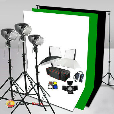 3x180W STUDIO FLASH KIT SET Iluminación Fondo Verde Negro Blanco Soporte Light