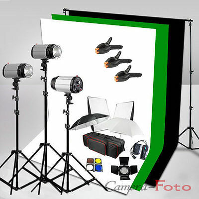 3x300W STUDIO FLASH KIT SET Iluminación Fondo Verde Negro Blanco Soporte Light
