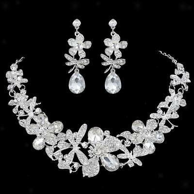 Wedding Bridal Formal Jewellery SET Crystal Dragonfly Flower Necklace Earrings