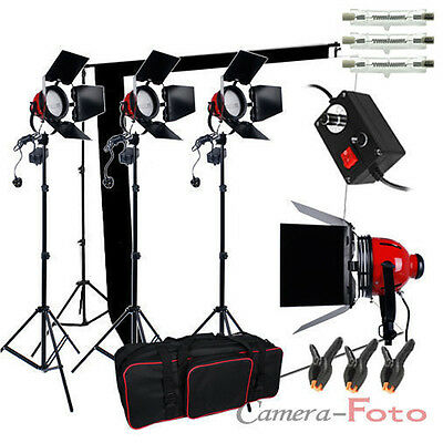 3x800W Redhead Continuous Lighting Dimmer Kit Video Black & White Backdrop Stand
