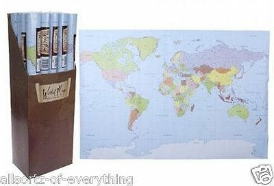 """2 x LARGE WORLD MAP Poster Wall Chart New Sealed School Nursery Office 24"""" x 36"""""""