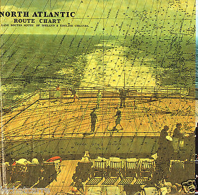 Paquebot- Cunard Line - North Atlantic Route Chart - 1960