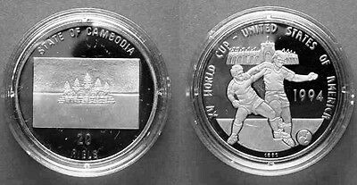 1992 Cambodia Large Silver  Proof 20 riels World Cup Soccer