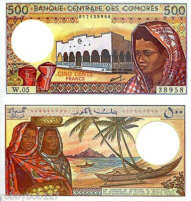 COMOROS 500 Francs Banknote World Money UNC Currency BILL p10b Africa Note 1986+