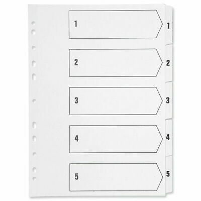A4 White Plastic 5 Part Tabbed File Index Dividers for ring binders/lever arch