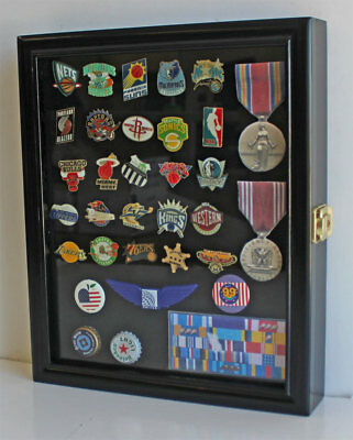 Small Wall Shadow Box Cabinet for Pin and Medal Display Case Glass Door LOCKABLE