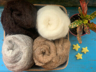 Heidifeathers® Carded British Wool Batts Soft Felting, Spinning Core Wool, Cloud