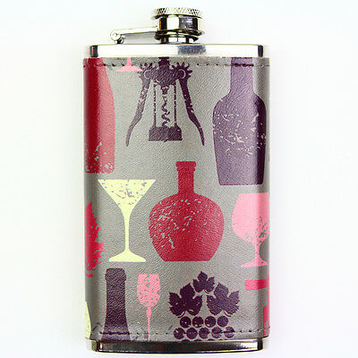 Leather Wrapped 6oz Stainless Steel Hip Flask FSK1004 Wine Vintage