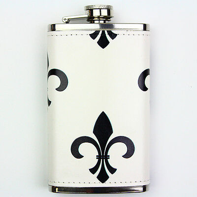 Leather Wrapped 6oz Stainless Steel Hip Flask FSK1083 Black Fleur-de-lis Pattern
