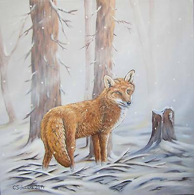Christiane schwarz early winter ca 80x60cm fuchs bild for Teich fische winter
