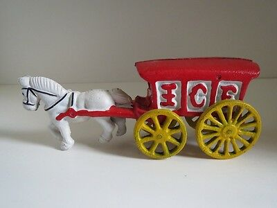 Fun Vintage 1970s Era Heavy Cast Iron Old Time Horse Drawn Ice Wagon Truck