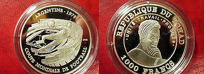 2002 Chad Large Proof Silver 1000 Fr World Cup Soccer