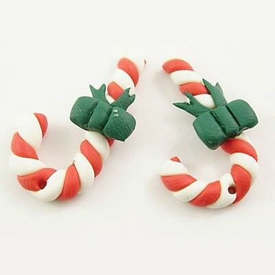4 x Red Handmade Polymer Clay Christmas Candy Cane with Bow Beads 28mm