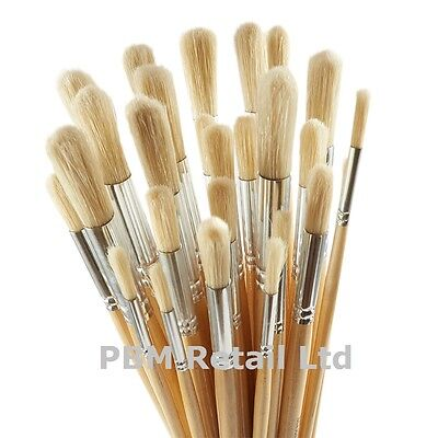 10 Pack White Hog Hair Round Quality Paint Brush Art Set New Size 6