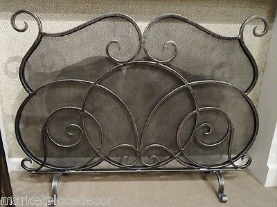 """Old World Tuscan Scrolled Mesh Fireplace Fire Screen Pewter Finish 46""""W"""