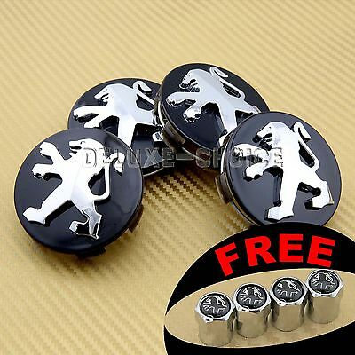 4 Car Wheel Center Hub Cap Badge 60Mm For Peugeot 106,204,206,207,306,307 Black