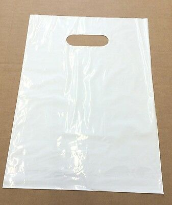 100 Qty. WHITE Plastic T-Shirt Retail Shopping Bags w/ Handles 9 x 12
