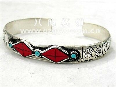 Long Solid Tibetan Turquoise Red Coral Carved 8 Auspicious Symbol Cuff Bracelet