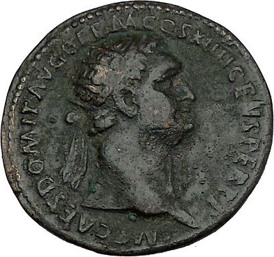 DOMITIAN 92AD  HUGE Ancient Roman Coin Fortuna LUCK Wealth Symbol Rare i44333