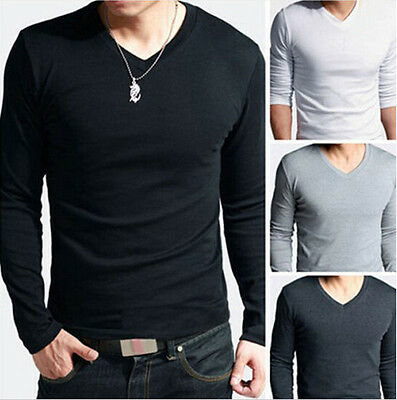 Men Fashion Slim Fit Cotton V-Neck Long Sleeve Casual T-Shirt Top Blouse 4 size