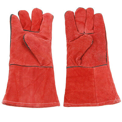 Pair Leather Heat Shield Safety Protective Welding Gloves