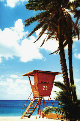 Tropical Orange Lifeguard Hut Laminated Poster 61X91Cm Beasurf New Licensed